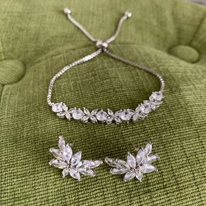 Crystal leaf bridal jewelry earring necklace set